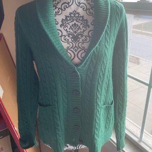 J Crew Kelly Green Cardigan Sweater XL